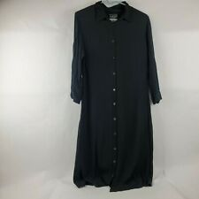 Ghost Womens Shirt Dress Sz M Med Black Button Front Maxi Made in England *