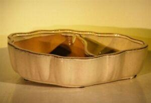 "Chinese Beige Oval Ceramic Bonsai Pot Glazed Land/Water Divider 12"" x 9.5"" x 3"""