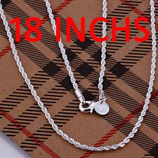 925 Sterling Silver Filled Twisted Rope 2mm Charm Necklace Chain For Pendants