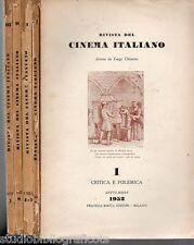RIVISTA DEL CINEMA ITALIANO diretta da L. Chiarini ; LOTTO DI 5 RIVISTE anni '50