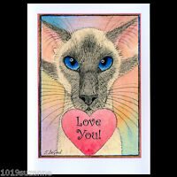ORIGINAL LARGE BLUEPOINT SIAMESE CAT ART HEART VALENTINES CARD SUZANNE LE GOOD