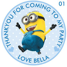 """Personalised Minion 50mm(2"""") Stickers Party Thank You Seals 30 stickers  (ROUND)"""