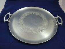 Large Everlast Aluminum Serving Round Tray Hand Forged Grape pattern 17.5""