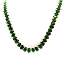 Russian Diopside (Ovl) Necklace (20 in) TGW 23.85,   Sterling Silver