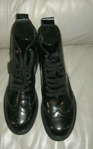 Lacquered Perforated Lace-Up Boots  UK Size 4 LA REDOUTE COLLECTIONS