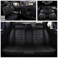 Black PU Leather Full Surrounded 6D Car Front+Rear 5-Seat Seat Cover Cushion Mat