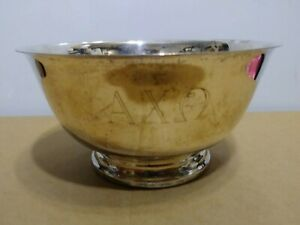 Vintage Alpha Chi Omega Sorority Silver Bowl Paul Revere Reproduction Oneida 6""