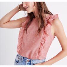 Madewell Red Bellflower Ruffle Blouse Top Women's Size Medium NWT