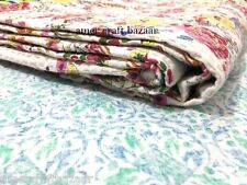 Indian-Kantha-Quilt-Handmade-Blanket-Bedding-Queen-size-Floral-Bedspread,Decor