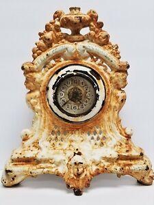 Vintage Painted Shabby Rusty & Crusty Cast Iron Jenny Lind / Cherub Table Clock