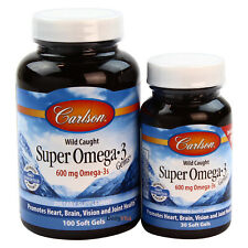 Carlson Labs Wild Caught Super Omega-3 Gems 1,200 mg 100 + 30 Softgels FRESH