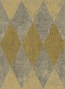 """Metallic & Mustard Diamond Geometric Wallpaper Bolt-20.5"""" x 396"""" Roll (56 sq ft)"""