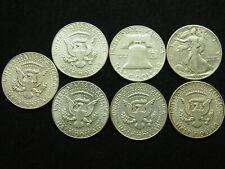 7 PIECES LOT MONNAIE ARGENT SILVER COINS HALF DOLLAR 1941 - 1963 - 1964 LIBERTY