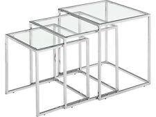 Glass Nesting Tables with Clear Tempered Glass Tops Accent Tables