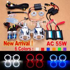 "55W 2.5"" BI-Xenon H/L HID Projector Lens Kit Headlights Upgrade Angel Eyes Halo"