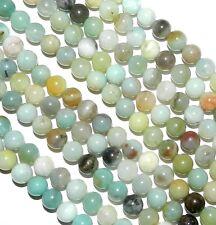 "GR336 Multi-Color Blue-Green Amazonite 8mm Round Gemstone Beads 15"""