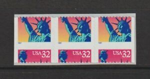 US EFO, ERROR Stamps: .32 Liberty Booklet strip of 3 with big die cut shift. MNH