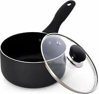 2 Quart Nonstick Saucepan with Glass Lid Induction Bottom Utopia Kitchen