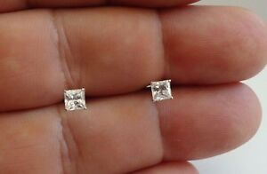 14K SOLID WHITE GOLD STUD EARRINGS W/  .50 CT PRINCESS CUT LAB DIAMONDS/ 4.5MM