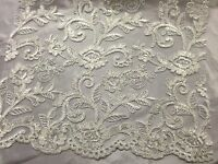 Lace Fabric Embroidered Corded Flowers With Sequins On A Mesh ivory By The Yard