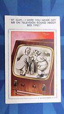 Bamforth Comic Postcard 1950s CORSET GIRDLE BBW Large Lady Vintage Television