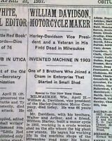HARLEY-DAVIDSON Motorcycle Company Founder William A. DEATH 1937 Old Newspaper