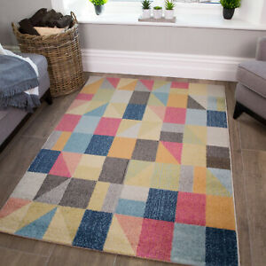 Colourful Rugs | Cheap Rugs | Funky Blocks Multicoloured Rugs For Bedroom Decor