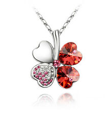 White Gold Plated Red Four Leaf Clover Necklace Made With Swarovski Crystal N24