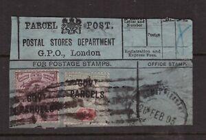 King Edward VII SCARCE 2d and 6d GOVT PARCELS OFFICIALS ON PARCEL POST RECEIPT