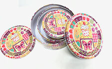 Happy Everyday Triple Tin Metal Box Kitchen Storage Container Cookie Sweet NEW