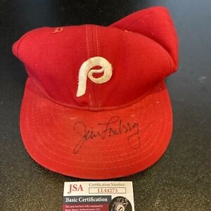 Jim Lonborg Signed 1970's Game Used Philadelphia Phillies Hat JSA COA