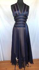 Lillie Rubin 4 Navy Blue, Sheer Panels, Nude Lining Ball Gown Evening Dress