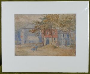 P1107 Late 19th Century Watercolour Of Two Children In Front Of A Large House