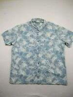Kona Wind Mens Size 3XL Blue Floral Button Up Shirt Short Sleeve Hawaiian Aloha