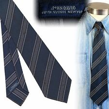 Vintage 1930s 1940s John David salt and pepper blue striped necktie tie untipped