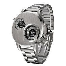 Reloj acero inoxidable deporte militar reloj analógico de cuarzo reloj Men Watch