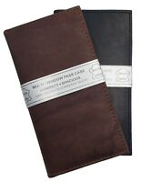 Set of Two Plain Check Book Covers, Cowhide Leather, Bill Slot, Black, Brown