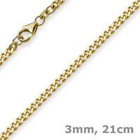 3mm Panzerarmband Armband Armkette, 585 Gold Gelbgold, 21cm, Unisex, Goldarmband