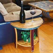 Small Half Moon WINE BARREL End Sofa Chair Side Wall Table Rustic Furniture Home
