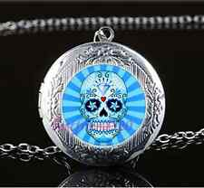 Blue Sugar Skull Photo Glass Tibet Silver Chain Locket Pendant Necklace