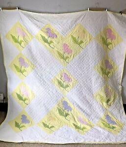 Vintage Floral Applique Cotton Quilt - Hand Stitched