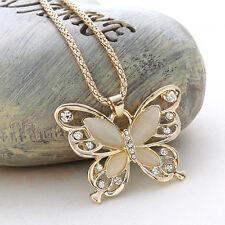 Halskette Damen Schmetterling XL 75cm Strass Collier Hochzeit Schmuck goldfarben
