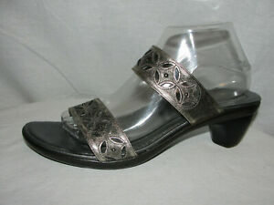 NAOT Shoes Women's Size 11M US 42 EUR Pewter Ultima Leather Strap Heeled Sandals