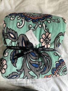 "Vera Bradley Throw Blanket-Fan Flowers- Plush  50"" x 80"" New"