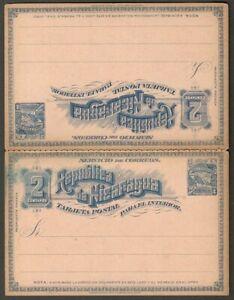 AOP Nicaragua reply postal card 1896 2c+2c blue HG #34a