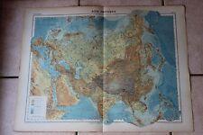 Ancienne carte Atlas universel Géographie 1919 N°38 Asie physique - Hachette