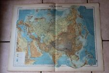 Antiguo carta Atlas universal Geografía 1919 Nº38 Asia física - Hachette