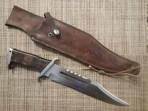 VINTAGE RAMBO III KNIFE Gil Hibben Designed LARGE BOWIE w/ Sheath