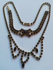 Vintage Gold Plated Set Necklace&Bracelet Bohemian Czechoslovakia Chrystals 1965