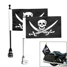 Motorcycle Rear Side Jolly Roger Flag Pole Mount For Luggage Rack Harley
